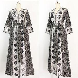 Vintage Dresses - SOLD-Vintage 60s I.Magnin Boho Caftan Robe Dress